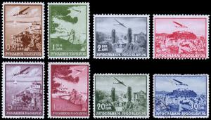 Yugoslavia Scott C7-14 (1937) Mint/Used H F-VF Complete Set, CV $37.25