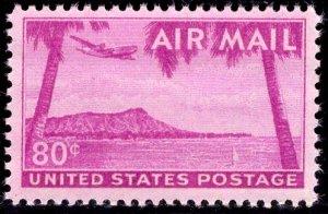 US Stamp #C46 80c Bright Red Violet Diamond Head MINT NH SCV $4.50