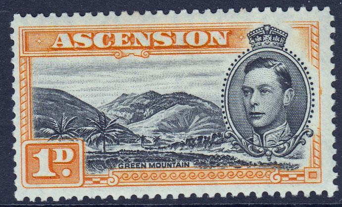 Ascension KGVI 1938 1d Black Yellow-Orange SG39ab Lightly Mounted Mint