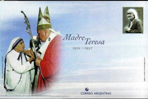 PS-123 ARGENTINA 1998 P STATIONARY RELIGION MOTHER THERESA POPE J.PAUL II UNUSED