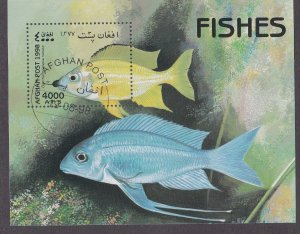 Afghanistan Illegal Issue, Fishes Souvenir Sheet, Cto
