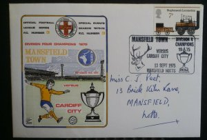 GB 1975  Mansfield v Cardiff Football League Commemorative Series Fancy Cancel