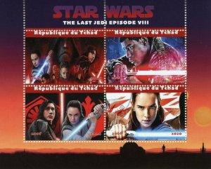 Chad Star Wars Stamps 2020 CTO Last Jedi Rey Finn Kylo Ren Princess Leia 4v M/S