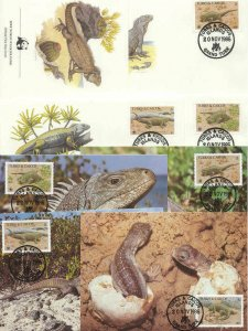 Turks Caicos 8 FDC/cards WWF/Iguana 1986