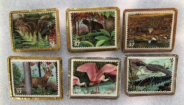 6 Different Stamp Pins Featuring American Wildlife