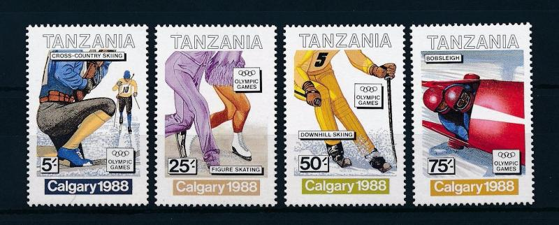 [60876] Tanzania 1988 Olympic games Calgary Figure skating Skiing MNH
