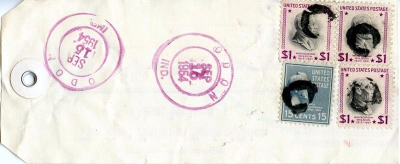 U.S. Scott 832 (3) and 820 Prexies On Registered 1954 Indiana Bank Tag