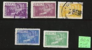 Panama  Scott RA42-46 Mixed Mint & Used postal tax stamp set