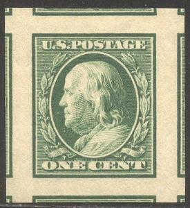 U.S. #383 Mint SUPERB NH JUMBO w/Cert - 1910 1c Green, Imperf
