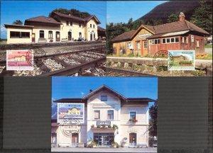Liechtenstein 1997 Art Paintings Landscapes Architecture 3 Maxi Cards FDC
