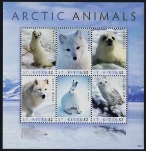 St Kitts 765 MNH Arctic Fox, Harp Seal, Wolf, Arctic hare, Snowy Owl