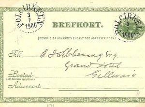 Sweden Postal Stationery Card 5 Ore *Polcirkeln* 1900 {samwells-covers} L116