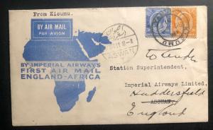 1931 Kisumu Kenya KUT First Flight Airmail Cover FFC To Aswan Egypt