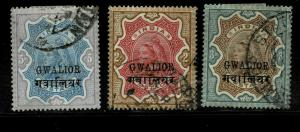 INDIA  GWALIOR - 1885-97 - SG NO 35 TO 37 FINE USED