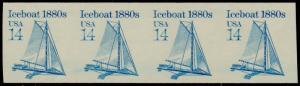 #2134a ICEBOAT 14¢ IMPERF MAJOR ERROR STRIP OF 4 CV $180.00  BQ5483