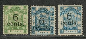 British North Borneo Sc#52-53, 55 M/H/F-VF, Partial Set, 52-3 NG, Cv. $252.50