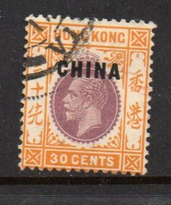 Great Britain China Sc 10 1917 30c G V CHINA overprint stamp used