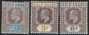 GOLD COAST 1902 KEVII 21/2D 3D AND 6D */** WMK CROWN CA