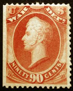 #O93 90c Rose War Dept 1873 Official VF *Mint* Rich Color