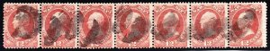 US O89 12c War Department Official Used Strip of 7 w/ Fancy Cancels