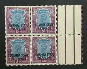 MOMEN: INDIA CHAMBA SG #O59 1939 BLOCK MINT OG NH LOT #193898-2319