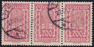 Austria - 1922 - Scott #273 - used strip of 3 - Symbols of Agriculture