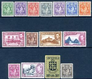 ST LUCIA-1938-48 Set to £1 Sg 128a-141 LIGHTLY MOUNTED MINT V19059