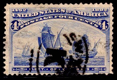 US Stamp #233 4c Columbian USED SCV $8.00