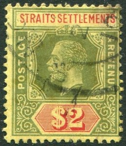 STRAITS SETTLEMENTS-1915 $2 Green & Red/Yellow Sg 211a GOOD USED V50203
