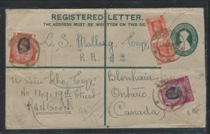 BURMA (P2806B) 1947 KGVI 1 1/2A RLE UPRATED 1 1/2AX2+1R+2R REG RANGOON TO CANADA