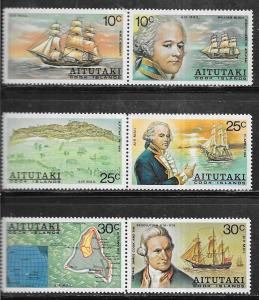 Aitutaki  #C2a-C6a pairs set complete (MNH) CV $6.50