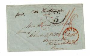 1849 stampless HONG KONG to USA ex Scamp