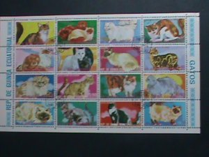 GUINEA EQUATORIAL-1974- COLORFUL BEAUTIFUL LOVELY  CATS CTO SHEET- VERY FINE