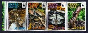 Sierra Leone WWF Forest Puff Adder strip of 4v