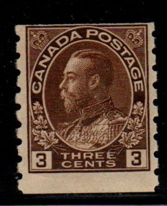 Canada Sc 129 1918 3c brown G V Admiral coil stamp mint NH
