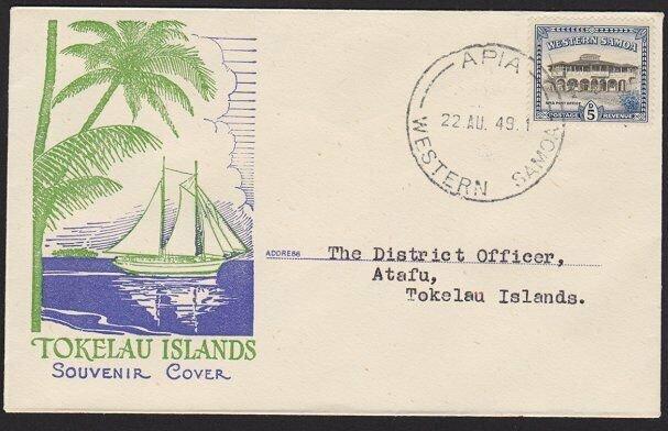 SAMOA TOKELAU 1947 first flight cover Apia to Atafu - scarce................4220