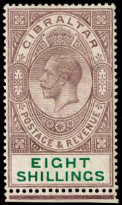 GIBRALTAR SG101, 8s dull purple & green, NH MINT. Cat £325.