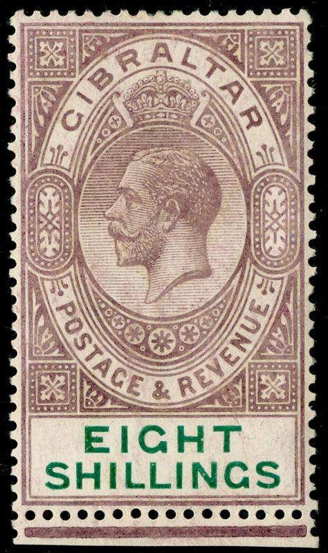 GIBRALTAR SG101, 8s dull purple & green, NH MINT. Cat £325.