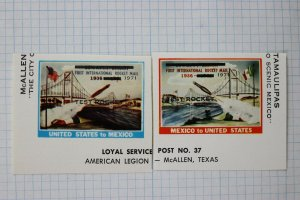 Test Rocket Mail Local Post #37 test Rocket US to Mexico McAllen TX stamp 1971