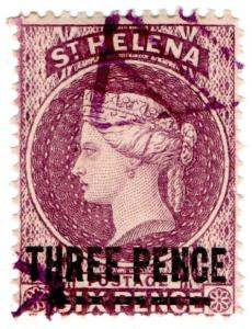 (I.B) St Helena Postal : 3d on 6d Purple OP