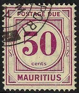 Mauritius SGD6 50c wmk Mult Script Post Due Fine Used Cat 25 pounds