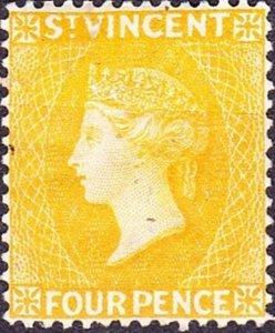 ST VINCENT 1869 QV 4d Yellow SG12 MH