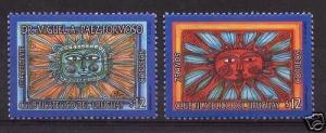 URUGUAY philatelic club radiant sun art painting Sc#1918/9 MNH STAMP cv$6.5