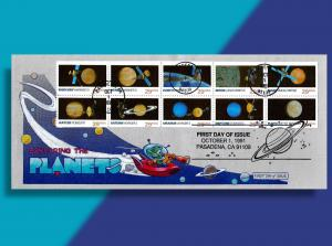 Little Outer Space Guy is Exploring the Planets on Handcolored 1991 FDC!
