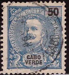 Cabo Verde Cape Verde Scott 44 Used King Carlos from 1898-1903 set Adhesion