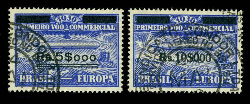 BRAZIL 1930 AIRMAIL -  Graf Zeppelin  surcharged set  Sc# 4CL4-5  used VF - R