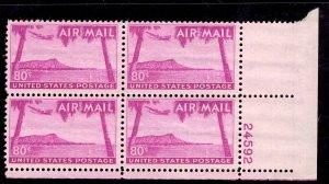 US Stamp #C46 Plate Block of 4 80c Diamond Head MINT NH SCV $19.00