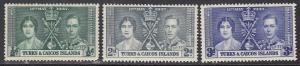 Turks & Caicos, Sc 75-77, MNH, 1937, Coronation of King George VI & QE