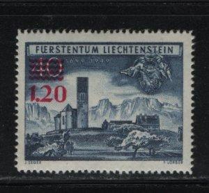 LIECHTENSTEIN 265 Hinged, 1952 Church at Bendern, Surcharge
