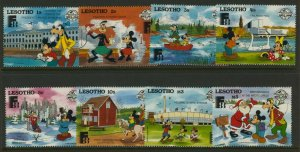 Lesotho 640-7 MNH Disney, Fishing, Birds, Horse, Santa